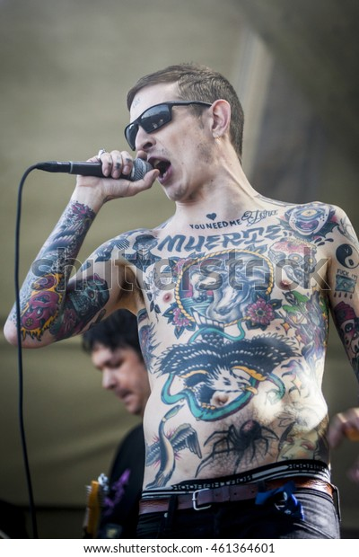 Traena, Norway - July 07 2016: concert of Norwegian punk rock band Viagra Boys at Traenafestival, music festival taking place on the small island of Traena