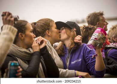 Traena, Norway - July 10 2014: during the concert of the Norwegian folk rock band Hekla Stalstrenga at the Traenafestival, music festival taking place on the small island of Traena
