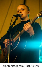 Traena, Norway - July 10 2015: concert of Norwegian folk singer Ingeborg Oktober at the Traenafestival, music festival taking place on the small island of Traena