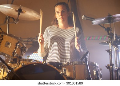 Traena, Norway - July 10 2015: concert of Norwegian 3 women band The Cameltoes at the Traenafestival, music festival taking place on the small island of Traena