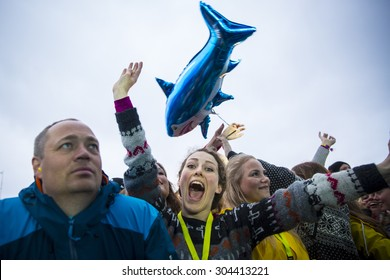 Traena, Norway - July 10 2015: audience during concert of Norwegian artist Emilie Nicolas at Traenafestival, music festival taking place on the small island of Traena