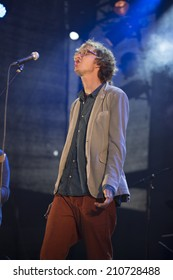 Traena, Norway - July 11 2014: concert of the Norwegian singer and guitarist Erlend Oye featuring Icelandic band Hjalmarat at Traenafestival, music festival taking place on the small island of Traena