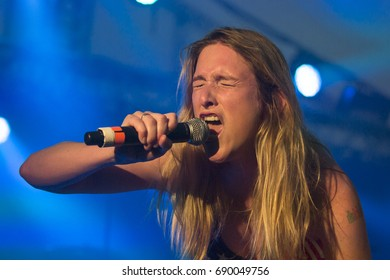 Traena, Norway - July 6 2017: concert of Norwegian Punk Rock band Kuuk, at Traenafestival, music festival taking place on the small island of Traena