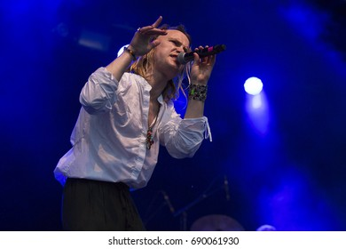 Traena, Norway - July 6 2017: concert of Danish indie rock singer Bisse at Traenafestival, music festival taking place on the small island of Traena