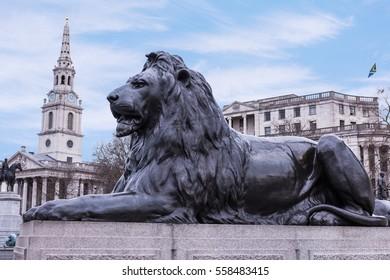 Trafalgar Square Lion Statue London, England