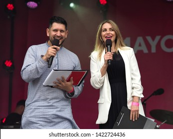 Trafalgar Square, London – 08th June 2019 – Co Presenters: Dr Myriam François and Abdullah Azfal, On Stage At The Eid In The Square Celebration