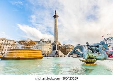 Trafalgar Square in London, UK