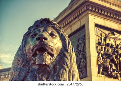 Trafalgar Square in London United Kingdom, filter effect