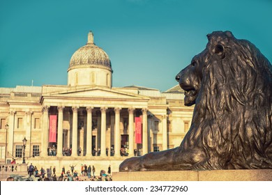 Trafalgar Square in London United Kingdom,national gallery, filter effect