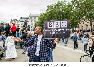 TRAFALGAR SQUARE, LONDON/ENGLAND- 29 August 2020: BBC protest placard at the Unite for Freedom rally; where thousands gathered in Trafalgar Square to hear calls for lockdown rules to be removed