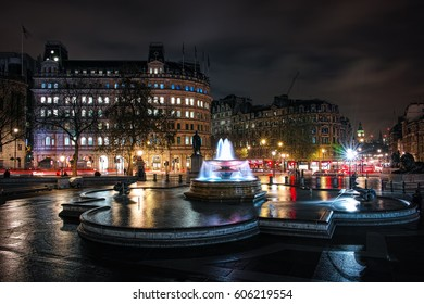 Trafalgar square in the night, London
