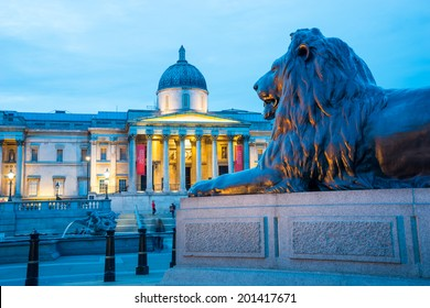 Trafalgar Square at night, London, England, UK