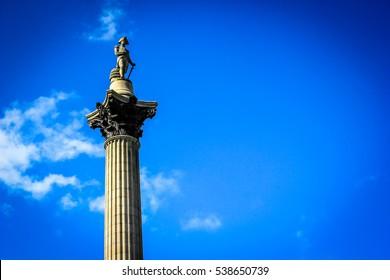 Trafalgar square tower with blue sky, London, uk
