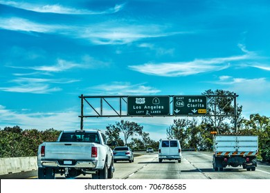 Traffic in 101 freeway in Los Angeles, California