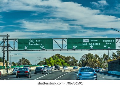 Traffic in 101 freeway, Los Angeles. California, USA