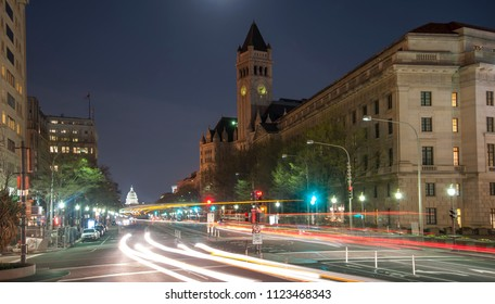 Traffic along Pennsylvania Ave. at night in DC