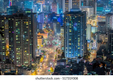 traffic and architecture in Seoul City, Korea.