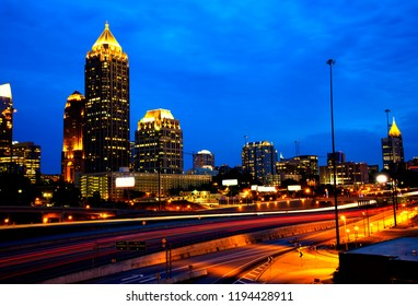 Traffic in Atlanta by night. Georgia, USA
