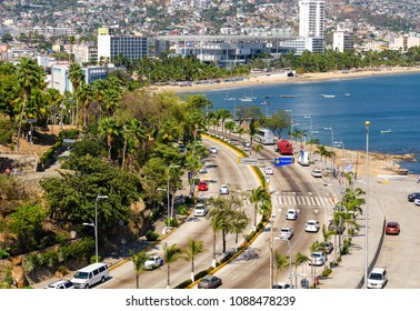 Traffic in Av Costera Miguel Aleman at Acapulco in Mexico