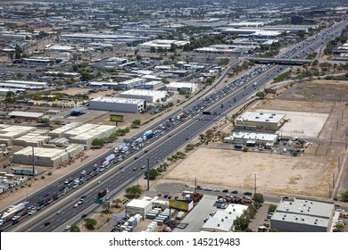 Traffic backed up during rush hour on Interstate 10