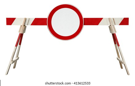 Traffic barrier striped obstacle with no traffic sign