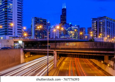 Traffic blurs along on the Kennedy Expressway into Chicago, Illinois. (1179)