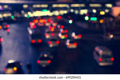 Traffic bokeh at night on the background blurred manually