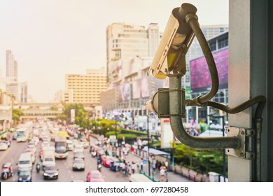 Traffic camera cctv and security system monitoring on street road in the city