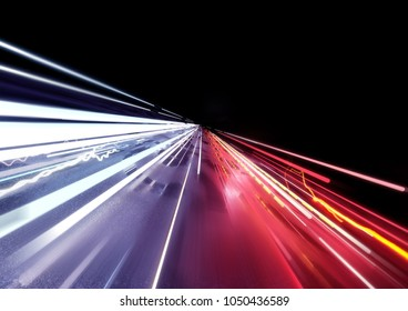 Traffic car light trails background. 3D illustration