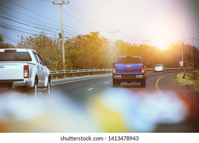 Traffic, cars on highway road on the countryside on sunset evening. car street road traffic transport, Cars on busy road driving.