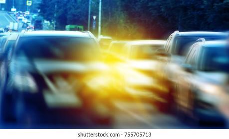 Traffic cars rush hour, blurred background