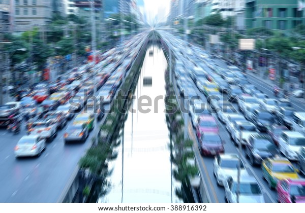 Traffic in central of bangkok city motion blur background