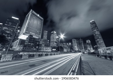 traffic in central district of Hong Kong city at night