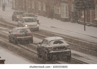 traffic chaos in blizzard conditions in UK during hazardous conditions