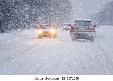 traffic chaos in blizzard conditions. Winter snow road