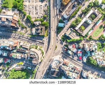 Traffic Circle Aerial View - Traffic concept image, gongguan traffic circle birds eye daytime view use the drone in Taipei, Taiwan.