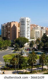 A traffic circle in Malaga city in the south of Spain