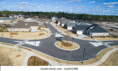 Traffic circle in a new subdivision.