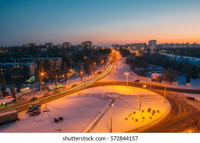 Traffic circle. Night winter cityscape view of Voronezh