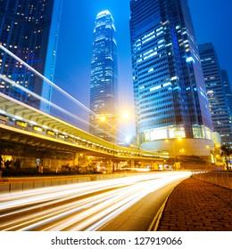 traffic city night  at hongkong,china