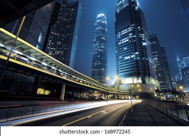 traffic city night  at hongkong,china