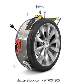 Traffic concept. Road with cars and signs on the wheel protector isolated on a white. Transport concept. 3d illustration
