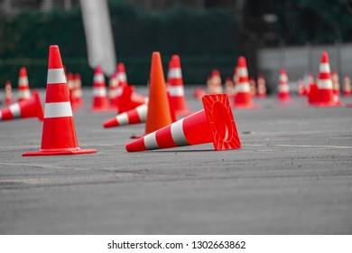 Traffic cone are arrange on the TestDrive road.
