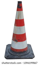 traffic cone to mark road works or temporary obstruction traffic sign isolated over white background