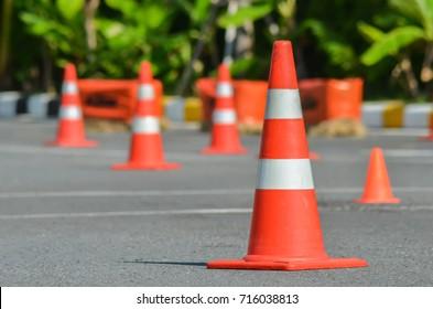 Traffic cones in driving school