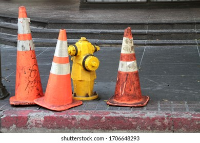 traffic cones and fire hydrant