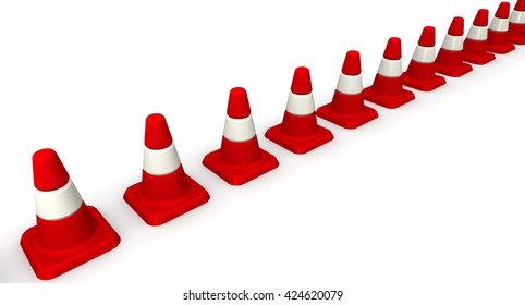 Traffic cones lined up in a row. Red Fencing (signal) traffic cones lined up in a row on white surface. Isolated. 3D Illustration