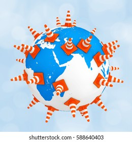 Traffic Cones over Earth Globe on a blue background. 3d Rendering.