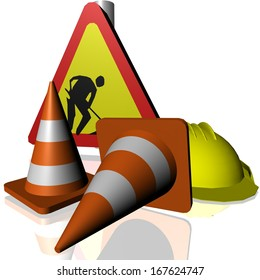 traffic cones roadworks signs helmet
