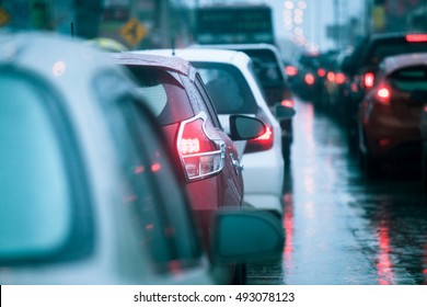 traffic congestion asia in dusk with rainy day
